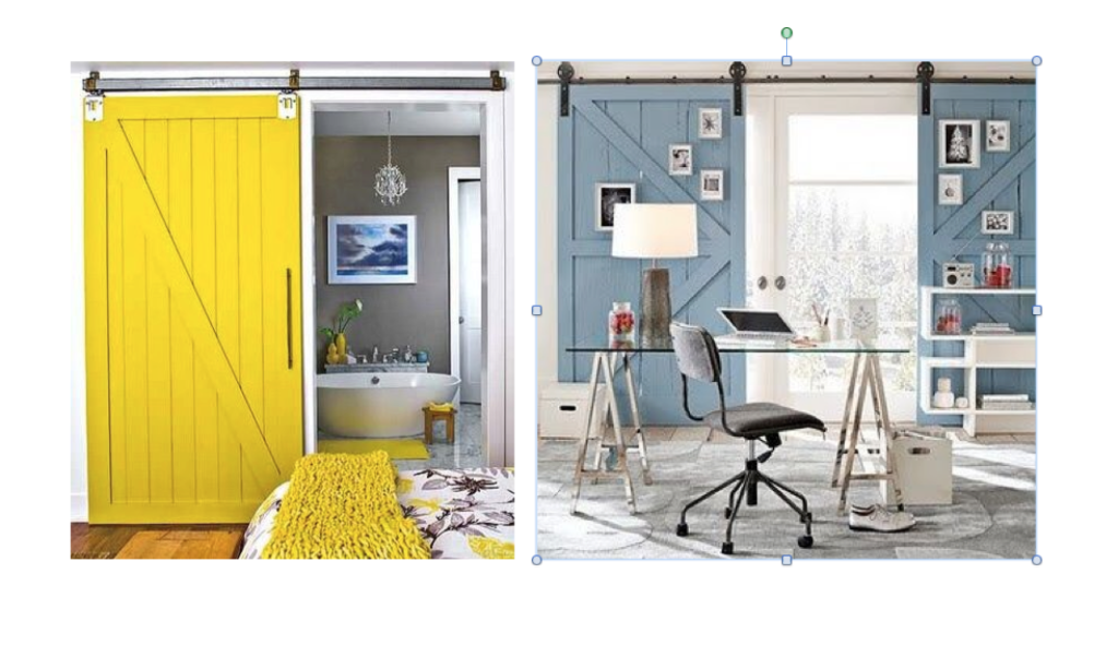 brightly painted barn doors