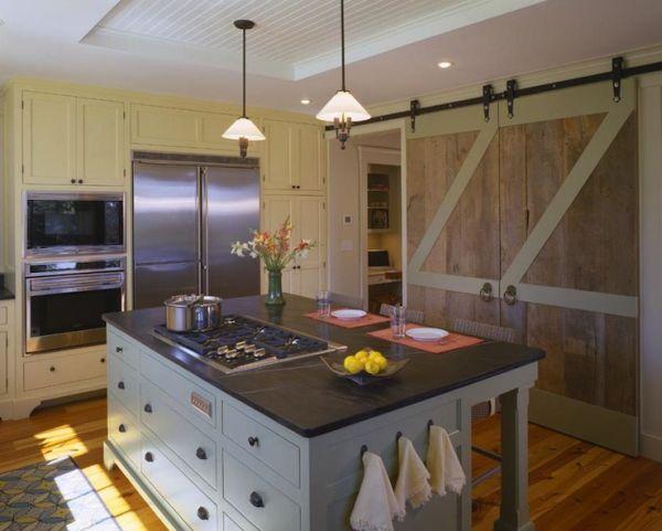 natural wood and painted barn doors