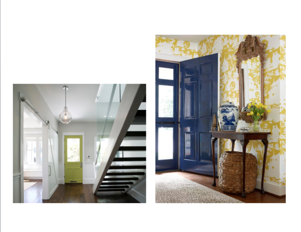Glossy Navy and Chartreuse front Door color