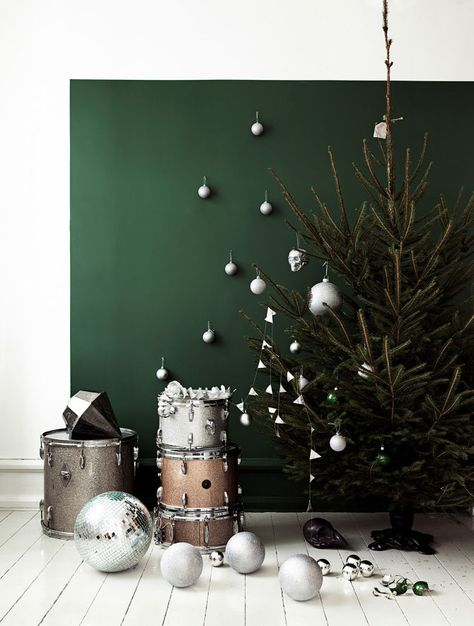 Christmas tree from cotton balls and tree branch