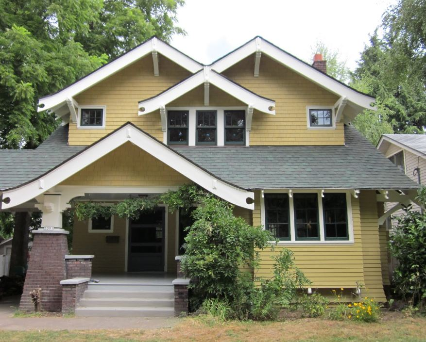 mustard color arts and crafts house