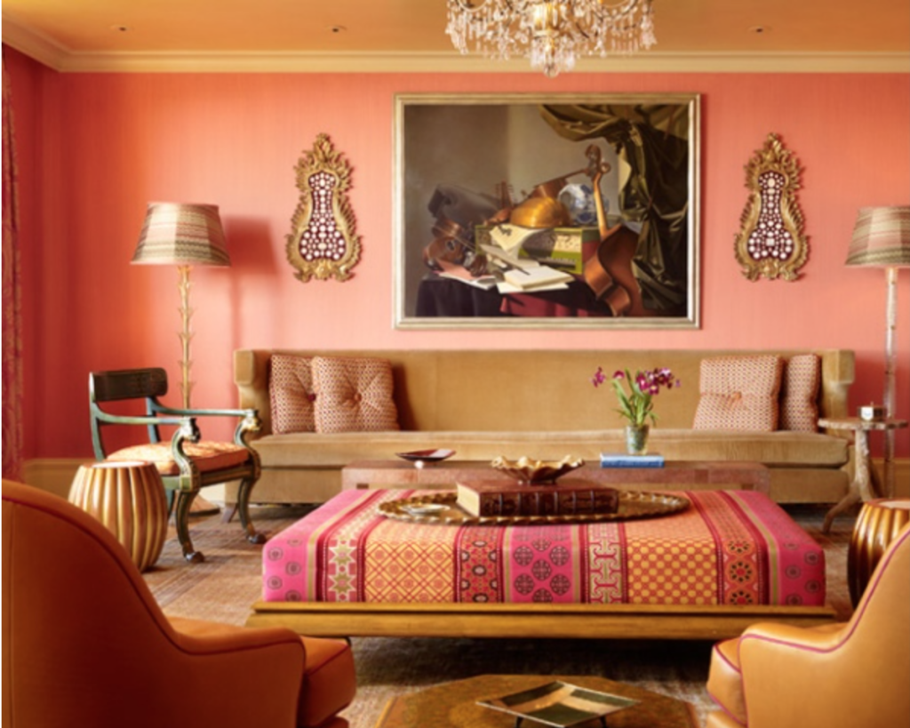 orange, pink and gold living room
