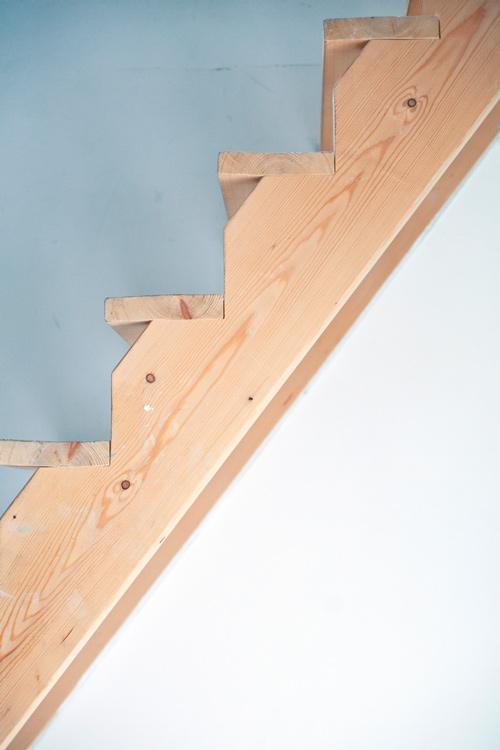 Raw wood stairs