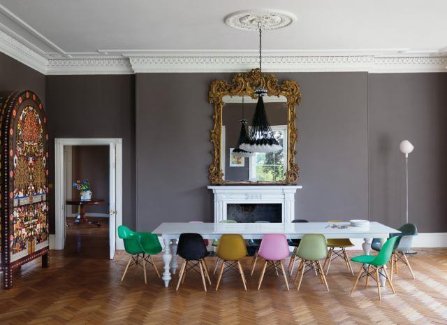 warm gray dining room