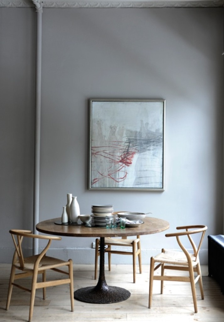 Neutral gray dining room