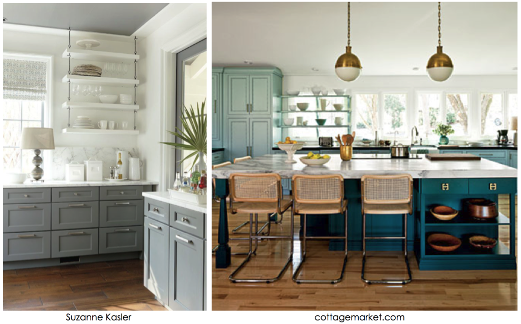 grey and teal kitchen