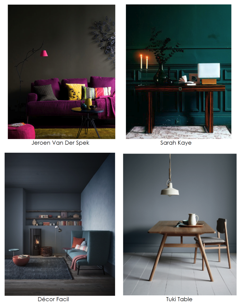 Dark moody wall color