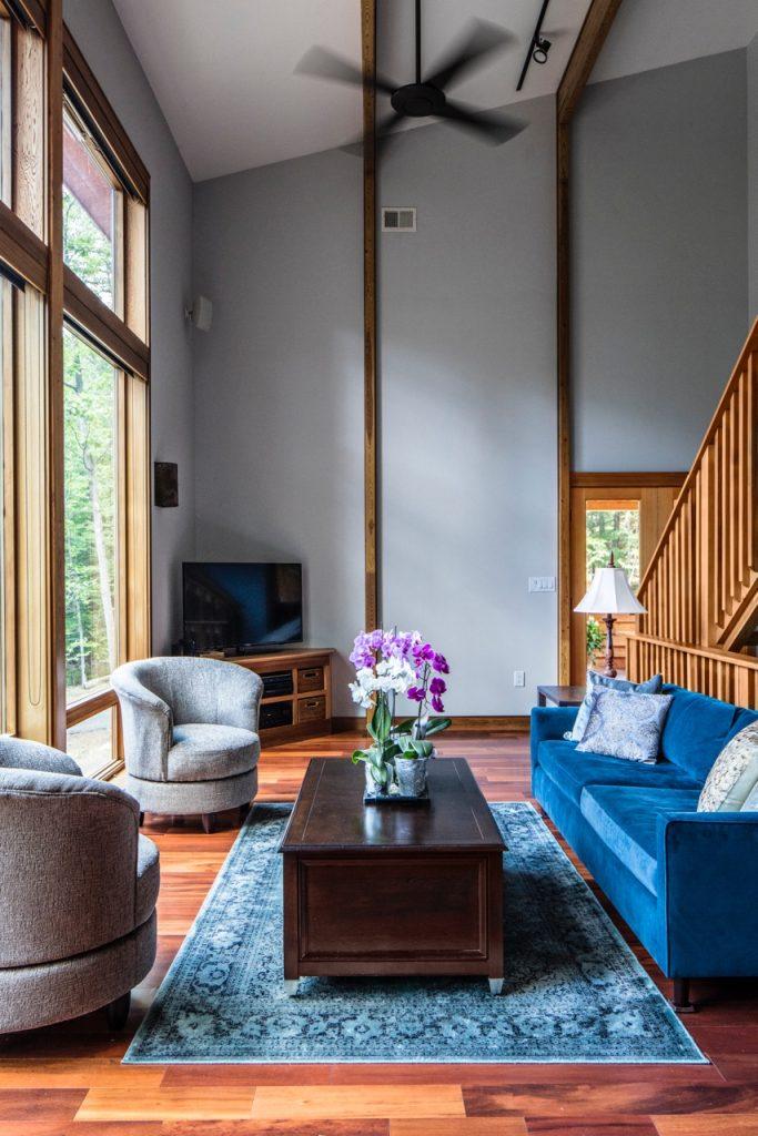 gray open plan living room